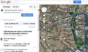 Cálculo de la ruta de Cibeles a Atocha con desvío por Alfonso XII.